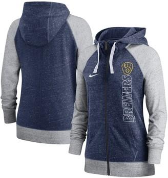 Nike Women's Navy Milwaukee Brewers In Pocket Gym Vintage Full-Zip Hoodie