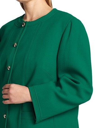 Lafayette 148 New York, Plus Size Sami Collarless Wool-Blend Jacket