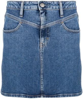 Calvin Klein Jeans Embroidered Logo Denim Mini Skirt