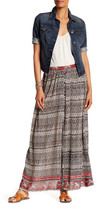 Angie Abstract Print Button Maxi Skirt