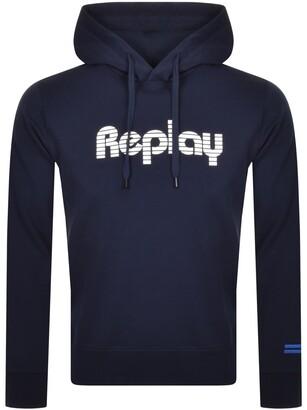 Replay Logo Hoodie Navy