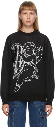 MSGM Black Wool Harp Angel Crewneck