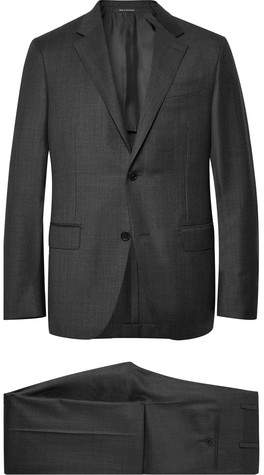 Ermenegildo Zegna Charcoal Milano Easy Checked Wool Suit