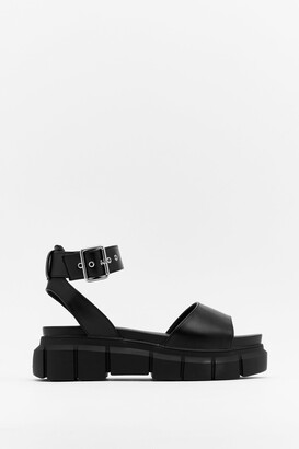 Nasty Gal Womens Get Your Groove On Faux Leather Platform Sandals - Black