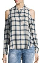 Calvin Klein Jeans Brushed Cold-Shoulder Checked Shirt
