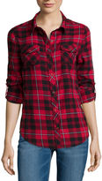 Arizona Long-Sleeve Classic Plaid Shirt- Juniors