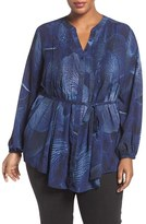 Melissa McCarthy Plus Size Women's Print Pintuck Pleat Tie Waist Blouse