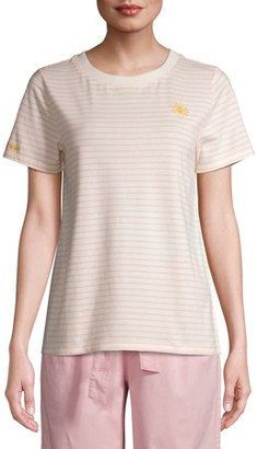 Time and Tru Women's Striped Embroidered T-Shirt