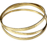 Flat Hammered Gold Bangle Set