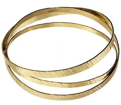Rebecca Norman Flat Hammered Gold Bangle Set