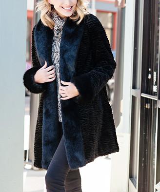 Donna Salyers' Fabulous Faux Furs Donna Salyers' Fabulous-Faux Furs Women's Car Coats Black - Black Fox & Persian Lamb Tuxedo Faux Fur Coat - Women & Plus
