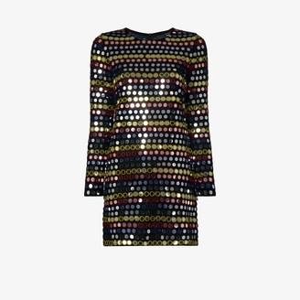 Ashish Striped Mirror Sequin Mini Dress