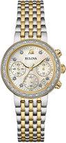 Bulova Women's Chronograph Diamond Accent Two-Tone Stainless Steel Bracelet Watch 30mm 98R214