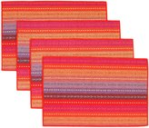 "Dream's Story Set of 4 Non-Slip Heat-Resistant Placemats Handmade Woven Braided Ribbed Cotton Table Placemats Rainbow Red 12"" x 18"" for Kitchen and Dinner"