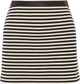 Alexander Wang Leather-trimmed striped woven mini skirt