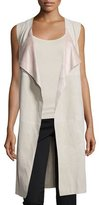 Bagatelle Open-Front Suede Long Vest, Tan/Pink