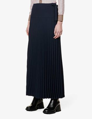 Chloé Pleated high-waisted crepe midi skirt