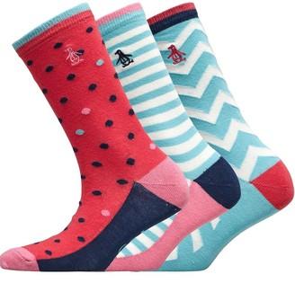 Original Penguin Womens Three Pack Socks Rasp/Zigzag/Spot