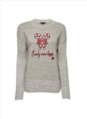 Dorothy Perkins Womens Grey Candy Cane Kisses Jumper, Grey