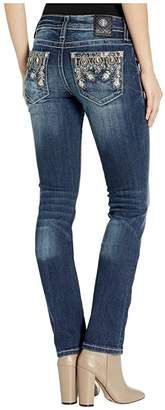 Miss Me Embroidered Peacock Straight Leg Jeans in Dark Blue