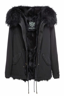 Mr & Mrs Italy Exclusive Fw20 Icon Parka: Black Mini Parka Patch Fox Raccoon Fur