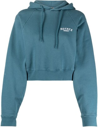 Rotate by Birger Christensen Embroidered Logo Cropped Hoodie
