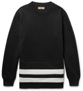 Burberry Striped Fleece-back Cotton-blend Jersey Sweatshirt - Black