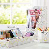 Printed Desk Accessories, Set of 3: Magazine Caddy, Divided Tray and Cup, Metallic Gold Geo