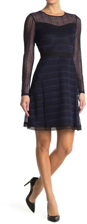 GUESS Lace Mesh Long Sleeve Dress