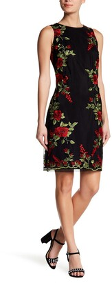 Donna Ricco Embroidered Floral Sleeveless Dress