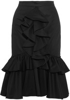 Tome Ruffled Cotton-twill Skirt - Black