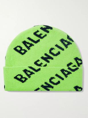 Balenciaga Logo-Intarsia Wool-Blend Beanie