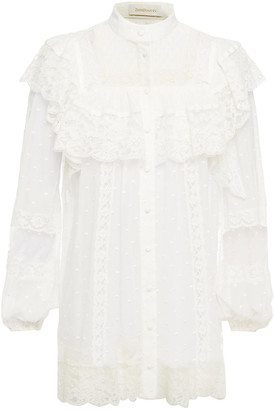 Zimmermann Ruffled Lace And Swiss-dot Georgette Blouse