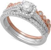 Macy's Diamond Two-Tone 3-Pc. Bridal Set (3/4 ct. t.w.) in 14k White & Rose Gold