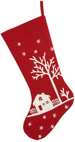 Red Village Scene Christmas Stocking