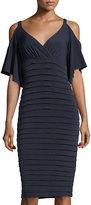 London Times Shutter Cold-Shoulder Jersey Dress