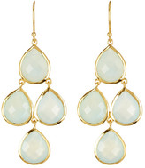 Argentovivo 18K Gold Plated Sterling Silver Aqua Chalcedony Drop Earrings