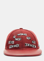 Valentino Jamie Reid Patch Leather Baseball Cap In Red