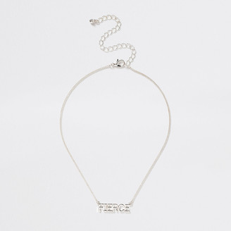 River Island Girls Silver tone 'Fierce' necklace