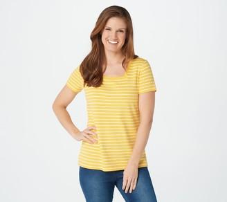 Isaac Mizrahi Live! Essentials Striped Square Neck T-Shirt