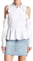 Romeo & Juliet Couture Cold Shoulder Peplum Shirt