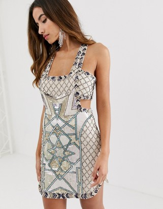 Asos Design DESIGN mini dress in moroccan tile embellishment-Multi