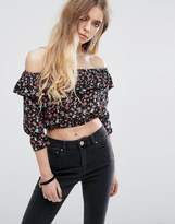 Rock & Religion Bardot Frilled Floral Print Crop Top