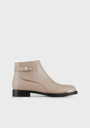 Giorgio Armani Leather Beatle Boots With Metallic Details