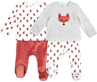 La Redoute Collections Pack of 2 Velour Pyjamas with Fox Print, 1 Month-4 Years
