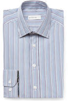 Etro Blue Slim-fit Striped Cotton-poplin Shirt - Navy
