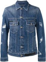 Philipp Plein distressed denim jacket - men - Cotton/Polyester - L