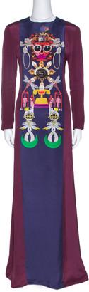 Mary Katrantzou Burgundy Sentinel Clocktopia Print Silk Maxi Dress M