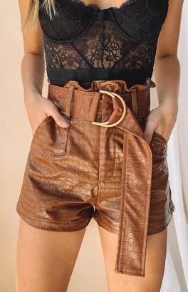 Bb Exclusive La Bamba PU Shorts Brown