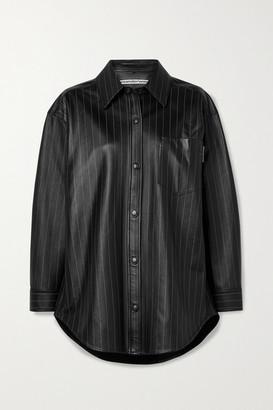 Alexander Wang - Oversized Pinstriped Leather Shirt - Black